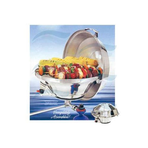 BBQ Gril INOX 43 cm s odklápěcím víkem a regulací plynu